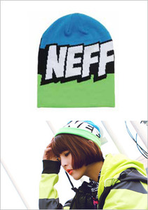 [NEFF] BEANIES Cartoon Slime/Black/Cyan